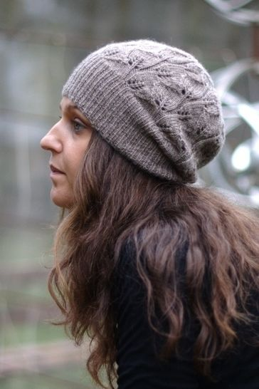 Everglade slouchy lacy hat - knitting pattern