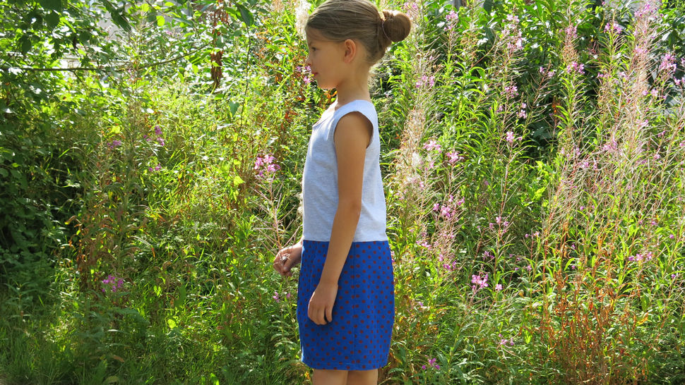 SALLY - Kinderkleid Materialmix 98-152