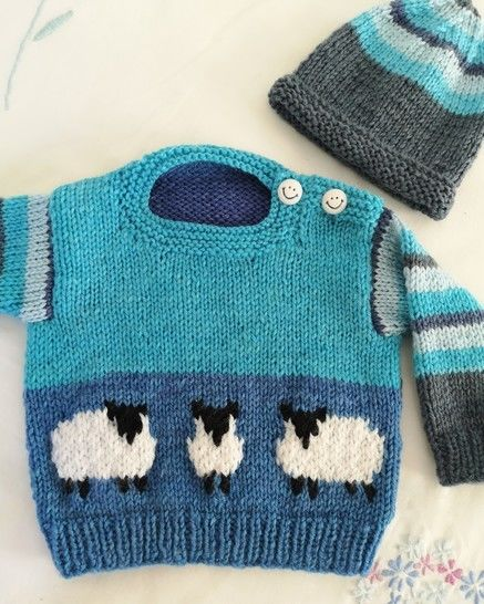 Baby Blue Sheep Sweater and Hat