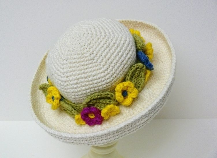 Crochet Pattern Womens Curved Wide Brim Hat