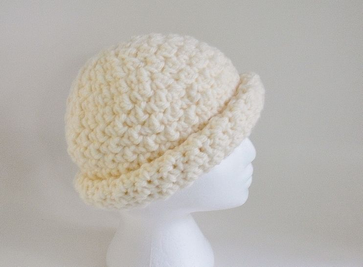 Roll Brim Hat and Bun Hat, Pony Tail Hat, Crochet