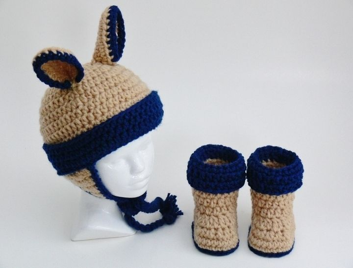 Baby Hat Booties with Ear Flaps and Ears #100B