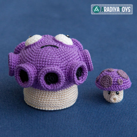 Crochet Pattern of Gloom and Puff Shrooms by AradiyaToys