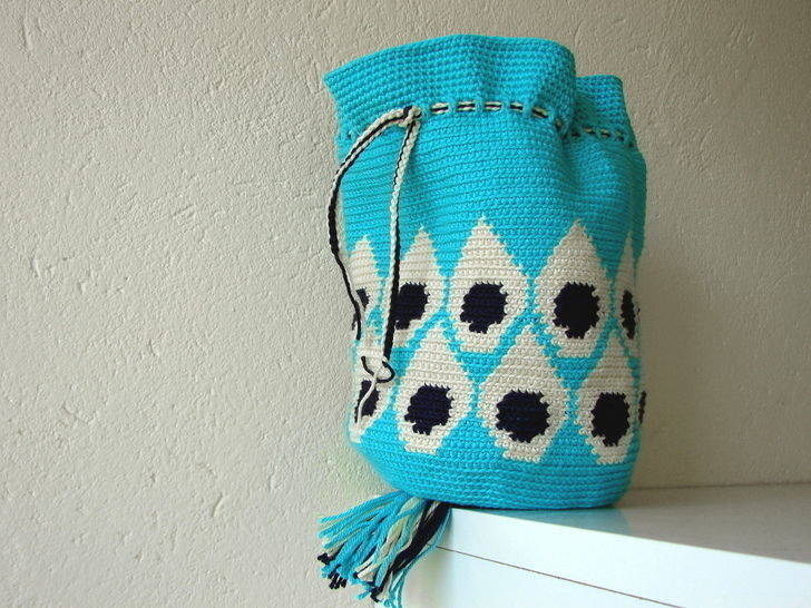 Peacock feather pouch bag - crochet tutorial