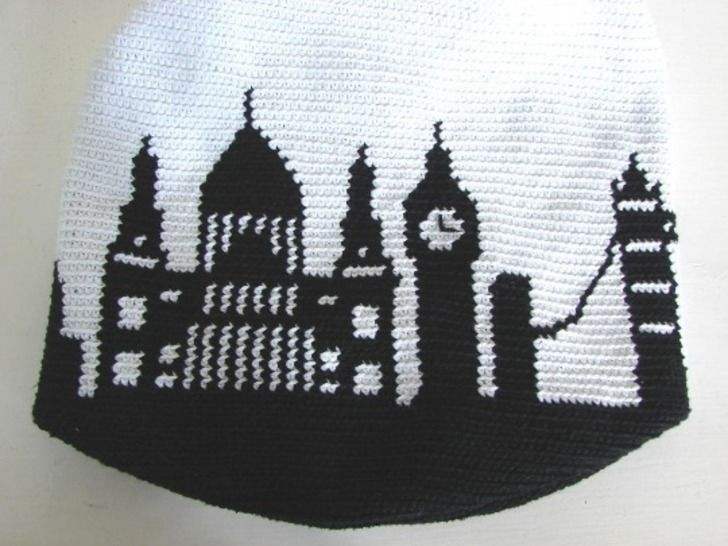 Mochila bag London skyline - crochet pattern