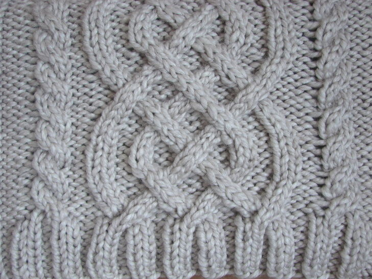 Laptop cover with Celtic cables - knitting pattern