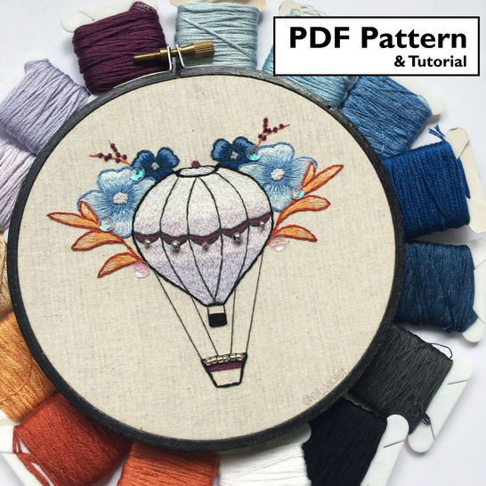 Floral Balloon Hand Embroidery Pattern and Tutorial