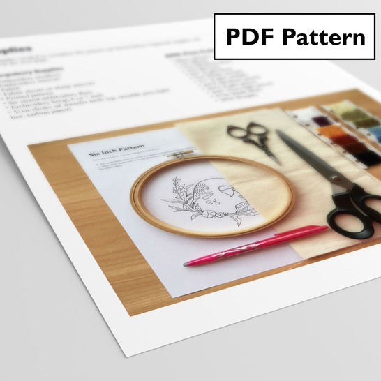 Budgie Beginner Hand Embroidery Pattern