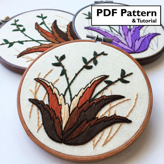Desert Plant Beginner Hand Embroidery Pattern and Tutorial