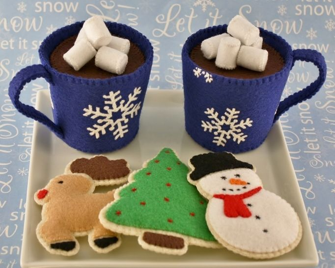 Felt Food Sewing Pattern Cocoa and Christmas Cookies