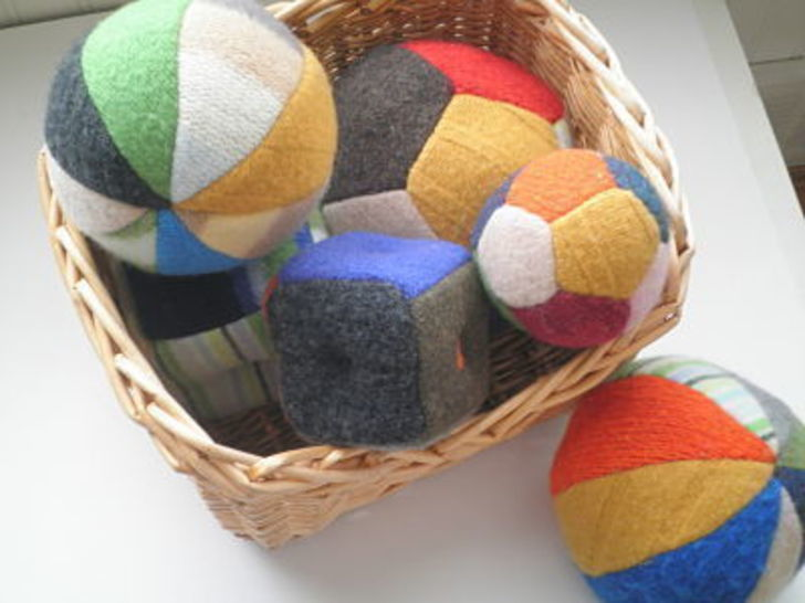 Upcycled Sweater Balls and Blocks