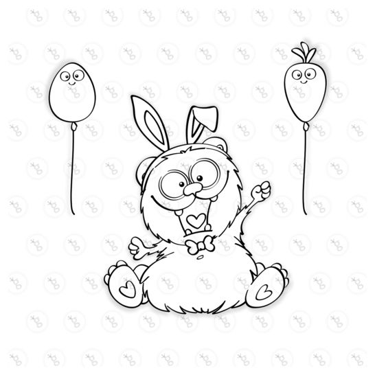 "digi stamp set ""hippity hoppity bear"""