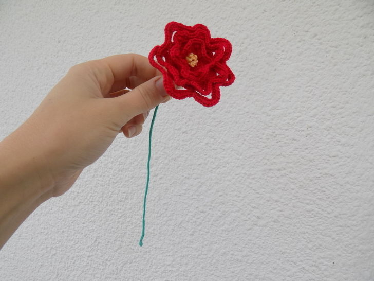 Crochet Rose, Crocheted Red Rose, Beauty and the Beast
