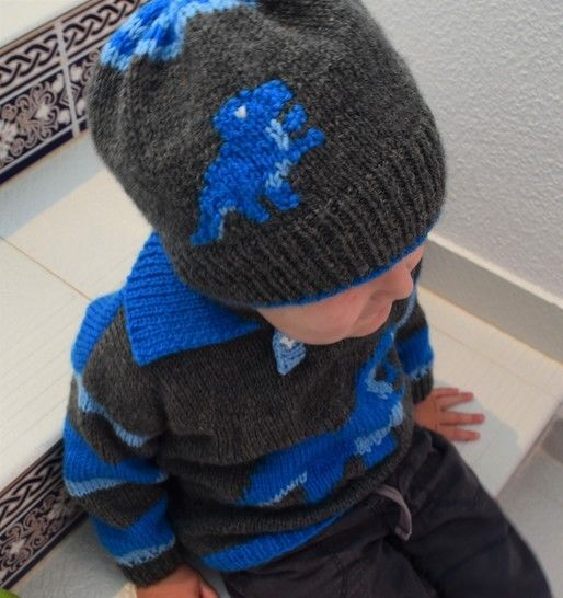 T Rex Sweater and Hat Knitting Pattern