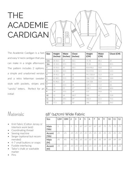 The Academie Cardigan Sewing Pattern, Sized 12m-12y