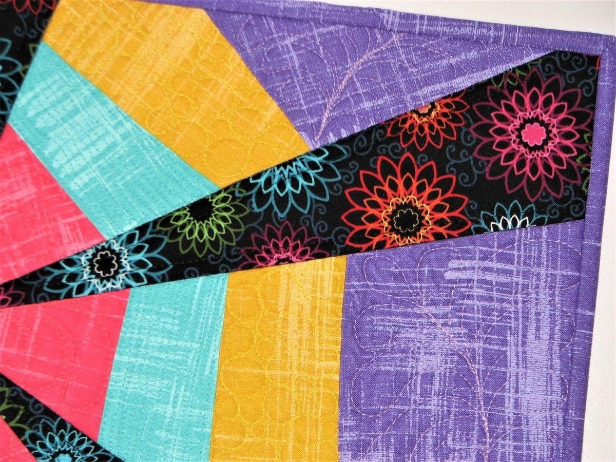 Rainbow Starburst Quilted Wall Hanging Place Mat