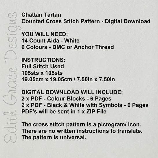Chattan Tartan Square Embroidery Pattern