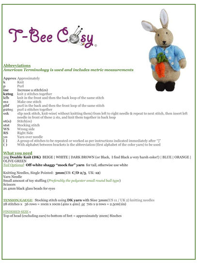 Peter Bunny Toy - Knitting instructions
