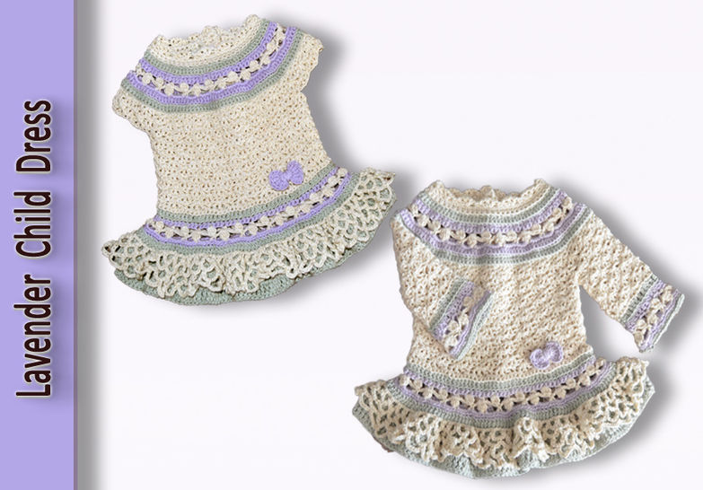 Lavender Child Dress and Cardigan crochet pattern