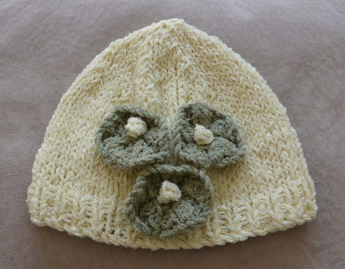 Baby's Flower Beanie - PDF kniting pattern - Jilly