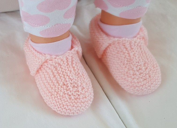 Garter stitch baby shoes or slippers in 4ply - Jessica