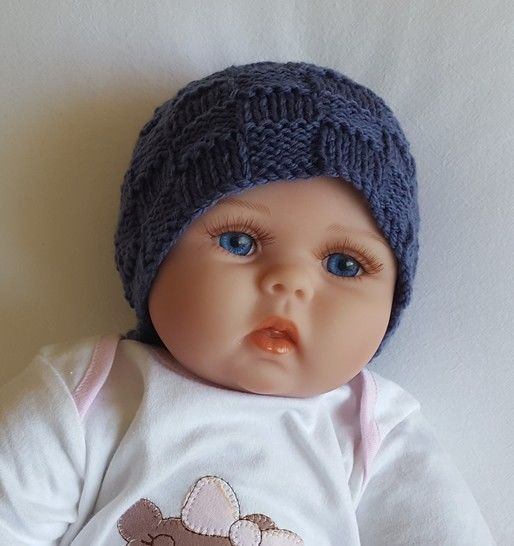 Baby's 8ply block stitch Beanie - knitting pattern - Corey