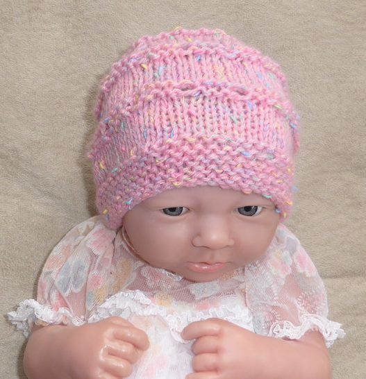 Babies 8ply eyelet beanie - knitting pattern - Cindy