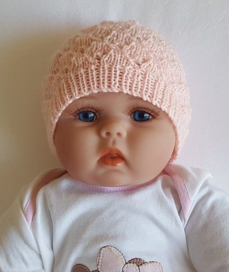 Baby's 4ply lace Beanie with rib band - Molly