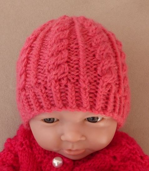 Baby's cable and rib beanie in 8ply - Sammy