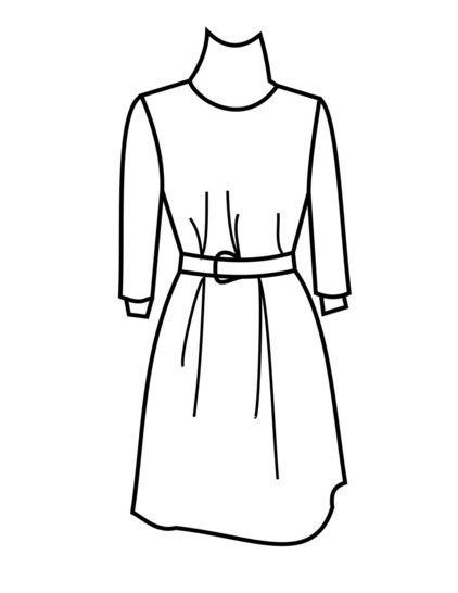 A-Line Knit Sweater Dress Sewing Pattern PDF