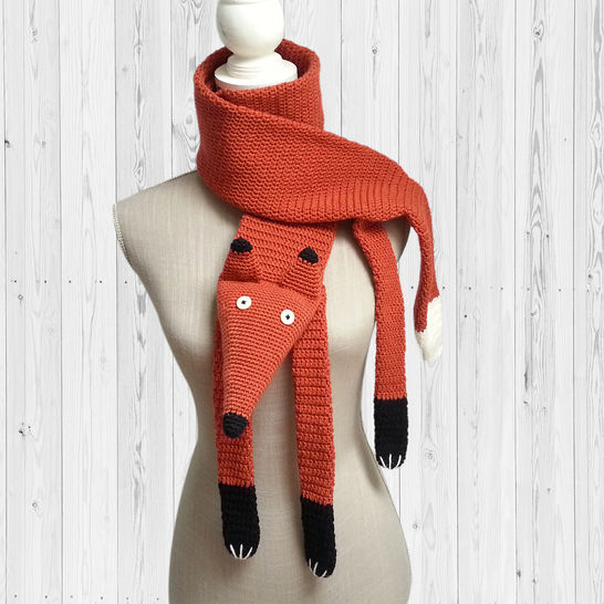 3 crochet patterns scarves fox, cat and raccoon