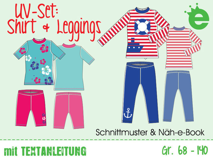 UV-Set: Kinder-Bade-Shirt & Leggings, Gr. 68–140, Näh-e-Book