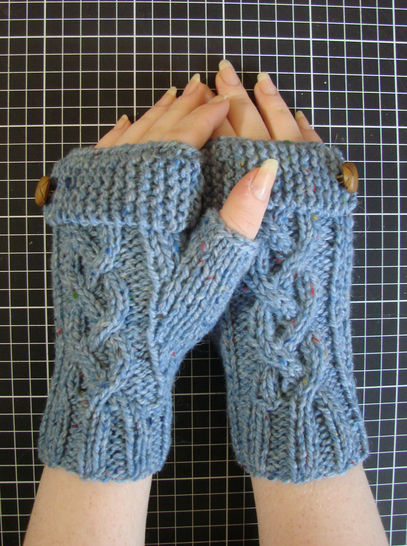 Mitaines tricotées Yaëlle - tricot tweed - adulte