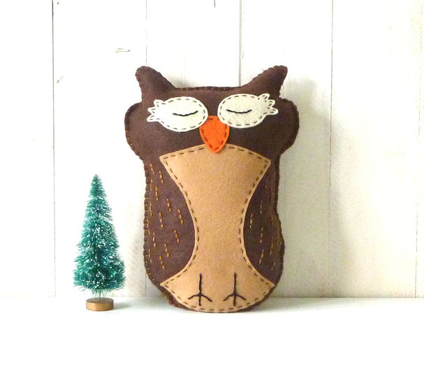 Sleepy Owl Hand Sewing Pattern, Felt