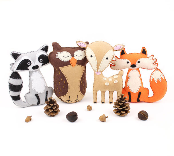 Woodland Forest Animals Set of Four: Raccoon, Owl, Deer, and Fox