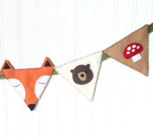 Woodland Bunting Banner Felt Hand Sewing Pattern