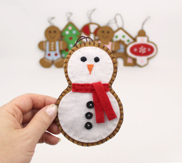 Gingerbread Cookie Christmas Decorations Hand Sewing Pattern