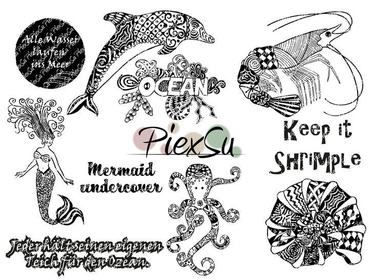 """DXF, SVG Cutting File Set """"Into the ocean"""" by PiexSu"""