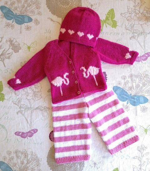 Flamingo and Heart Baby Outfit