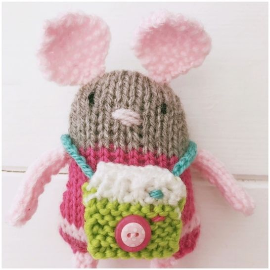 Knitted Toy Cat 'Bella' & Friend 'Agnes' Mouse PDF