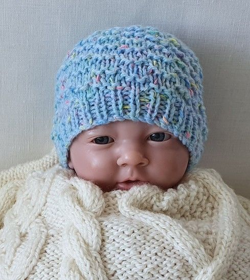 Prem & newborn textured beanie - Knitting pattern - Mickey