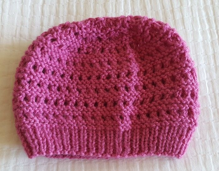 12ply eyelet & purl beanie - 2 years to Lady - Zoey