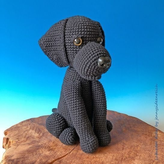 Crochet Pattern Abby the lab, sitting dog, amigurumi