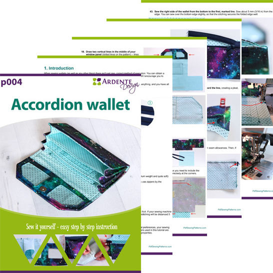 Accordion wallet pattern and tutorial, clutch wallet pattern