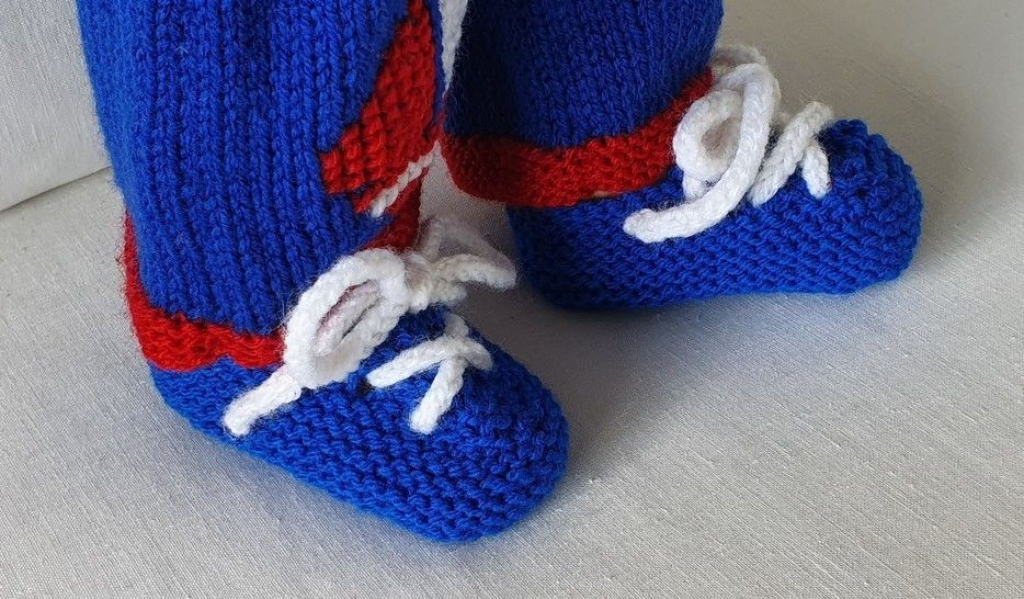 Babies garter stitch shoes or slippers with laces - Joshua