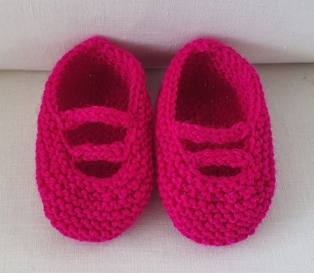Baby shoes with i-cord bars - knitting pattern - Andrea