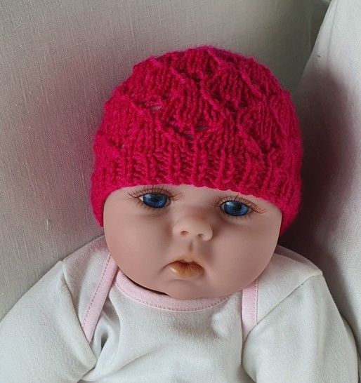 Babies 8ply lace Beanie - knitting pattern - Libby