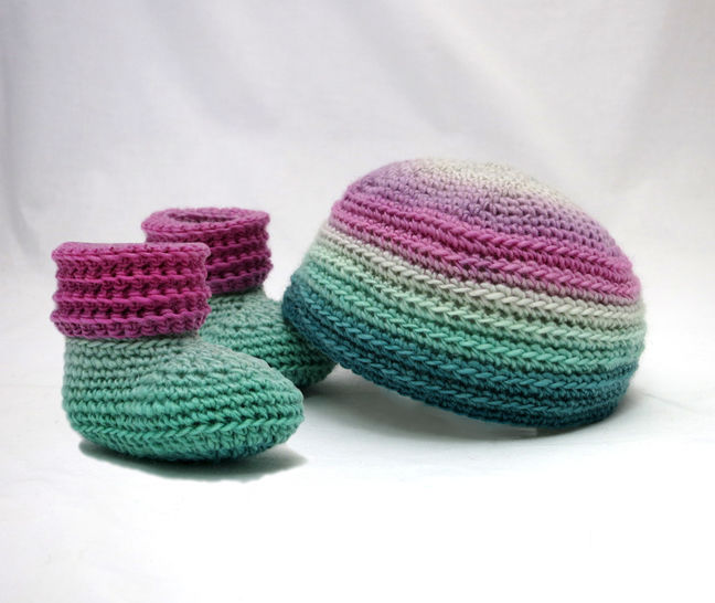 Sweet Baby Booties and Beanie Crochet Gift Set