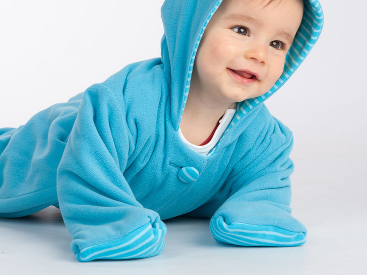 DORIAN Lined baby overall pattern with hood and cuffs
