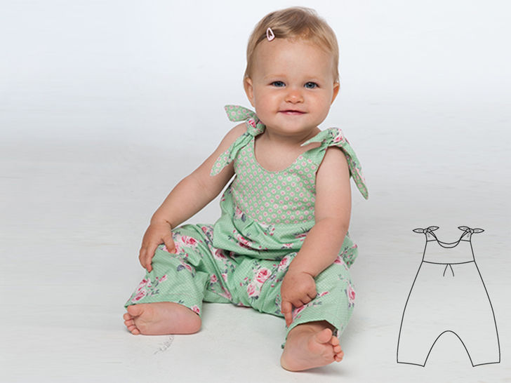 LOTTE Baby overall pattern with loops and yoke